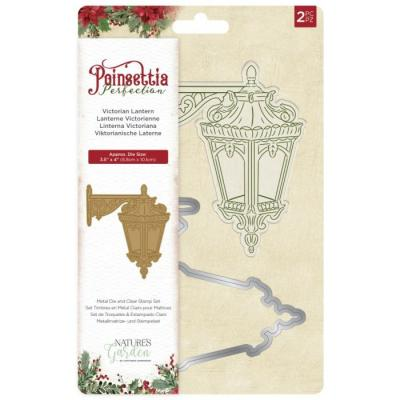 Crafter's Companion Poinsettia Perfection Clear Stamp und Outline-Stanzschablone - Victorian Lantern