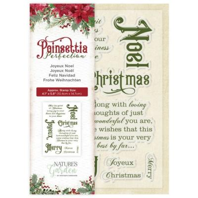 Crafter's Companion Poinsettia Perfection Clear Stamps - Joyeux Noel