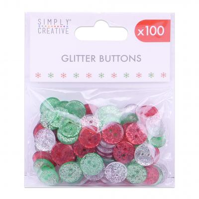Simply Creative Embellishments - Christmas Glittered Buttons