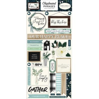 Carta Bella Home Again Die Cuts - Chipboard Phrases