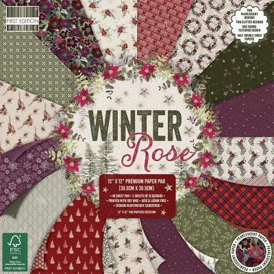 First Edition Winter Rose Designpapier - Paper Pad