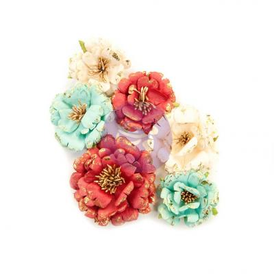 Prima Marketing Midnight Garden Flowers Embellishments - Pretty In Rouge