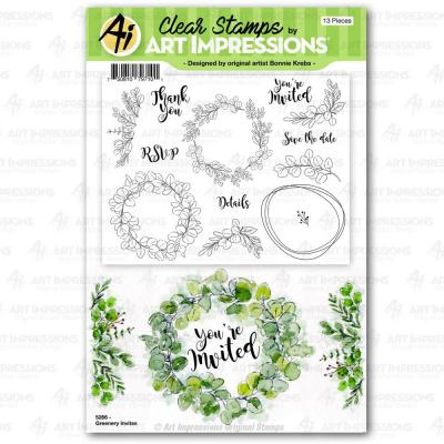 Art Impressions Florals Clear Stamps - Greenery Invites