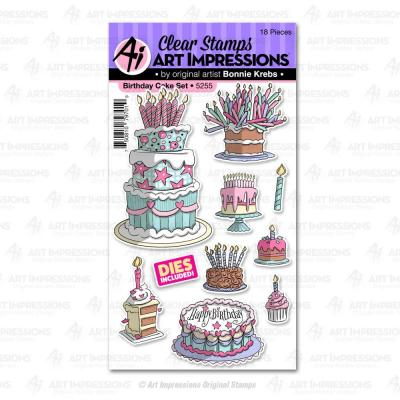Art Impressions Basics Clear Stamps & Die Set - Birthday Cake