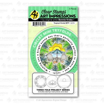 Art Impressions Circlet Mini Tryfolds Stamps & Die Set - Tropical Circlet MTF