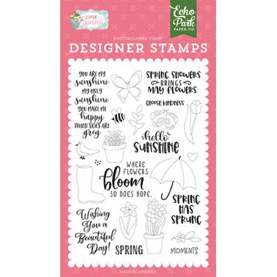 Echo Park  I Love Spring Clear Stamps - Showers