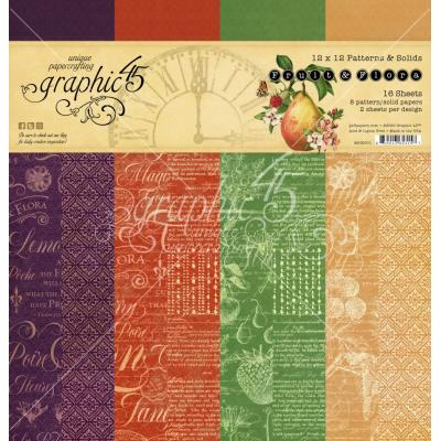 Graphic 45 Fruit & Flora Designpapier - Patterns & Solids Paper Pad