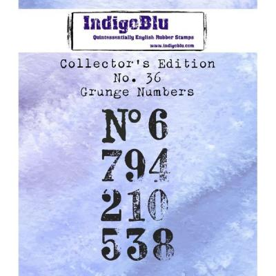 IndigoBlu Collector's No. 36 Rubber Stamp - Grunge Numbers