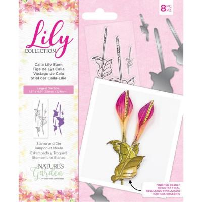 Crafter's Companion Lily Collection Clear Stamps & Die - Calla Lily Stem