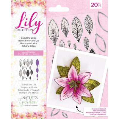 Crafter's Companion Lily Collection Clear Stamps & Die - Beautiful Lilies