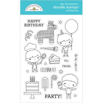 Doodlebug Party Time Clear Stamps - Birthday Boy
