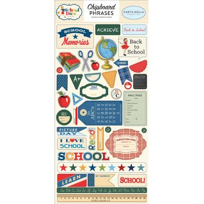 Carta Bella School Days Stickerbogen - Chipboard Phrases