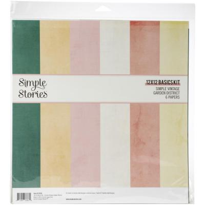 Simple Stories Vintage Garden District Basics Double-Sided Paper Pack - Cardstock