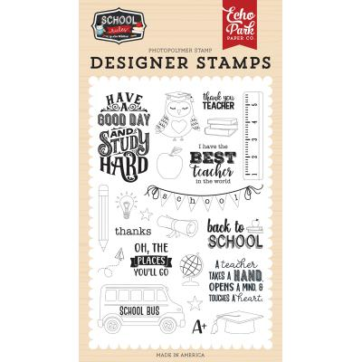 Echo Park School Rules Clear Stamps - Study Hard