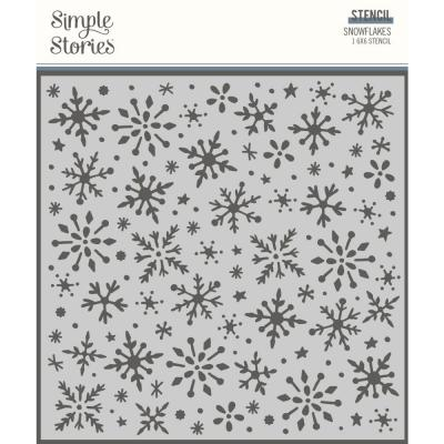 Simple Stories Winter Cottage Stencil - Snowflakes