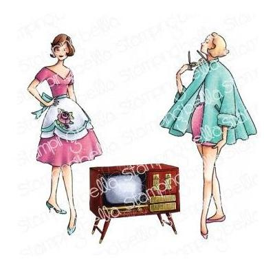 Stamping Bella Cling Stamps - Edgar And Molly Vintage TV Set