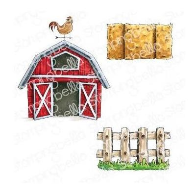 Stamping Bella Cling Stamps - Oddball Barn, Hay And Fence