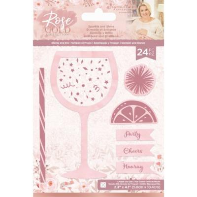 Crafter's Companion Rose Gold Clear Stamps And Dies - Sparkle and Shine