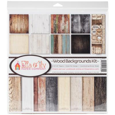 Ella & Viv  Designpapier Collection Kit - Wood Backgrounds