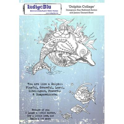 IndigoBlu Rubber Stamps - Dolphin Collage