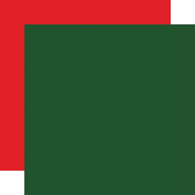 Carta Bella Dear Santa Cardstock - Dark Green Red