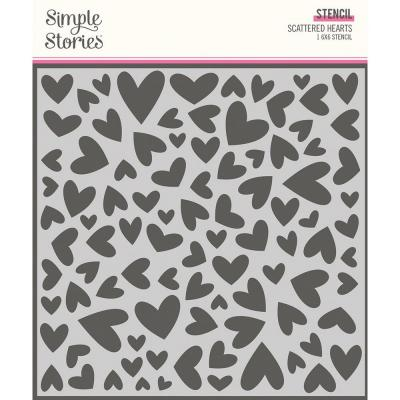 Simple Stories Sweet Talk Stencil - Scattered Hearts