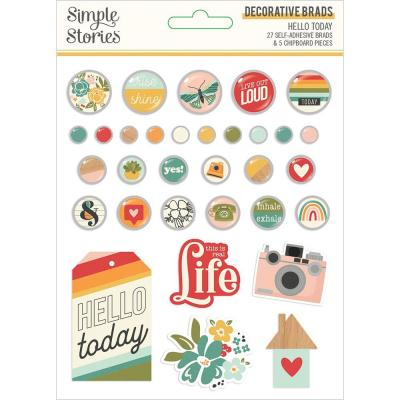 Simple Stories Hello Today Embellishments - Decorative Brads