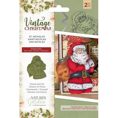 Crafter's Companion Vintage Christmas Clear Stamp and Dies - St.Nicholas