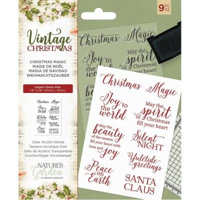 Crafter's Companion Vintage Christmas Clear Stamps - Christmas Magic
