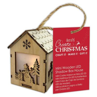 Papermania Mini Wooden LED Shadow Box House - Snowman Presents