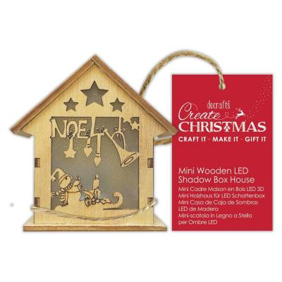 Papermania Mini Wooden LED Shadow Box House - Noel