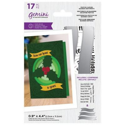 Crafter's Companion Clear Stamps & Dies - Festive Curved Banner Sentiments
