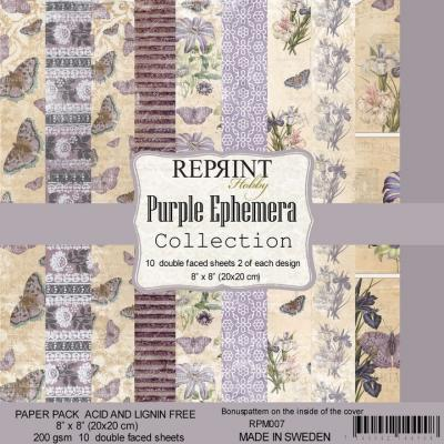 Reprint Purple Ephemera Designpapier - Paper Pack