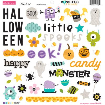 Bella BLVD Monsters & Friends Sticker - Chipboard Icons