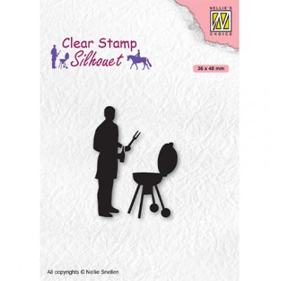 Nellie's Choice Clear Stamp - Silhouettes Men-Things Barbecue
