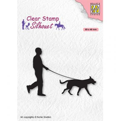 Nellie's Choice Clear Stamp - Silhouette Men-Things Man With Dog