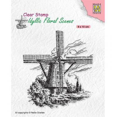 Nellie's Choice Clear Stamp - Idyllic Floral Scenes Wind-Mill