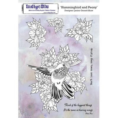 IndigoBlu Rubber Stamps - Hummingbird and Peony