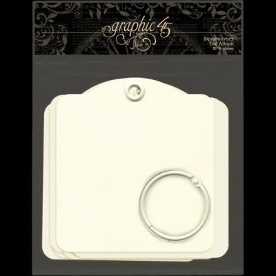 Graphic 45 - Square Tags Ivory