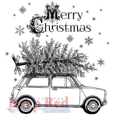 Deep Red Cling Stamps - Christmas Car