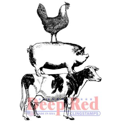 Deep Red Cling Stamp - Farm Animal Stack