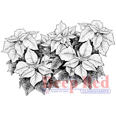 Deep Red Cling Stamp - Poinsettia Border