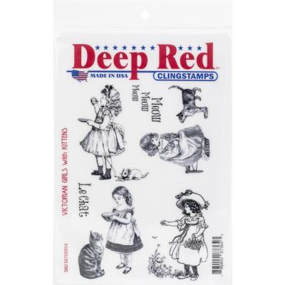 Deep Red Cling Stamps - Victorian Girls With Kittens