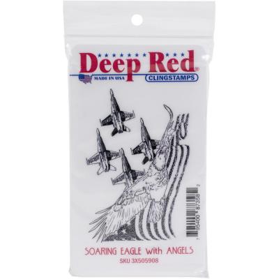 Deep Red Cling Stamp - Soaring Eagle With Angels