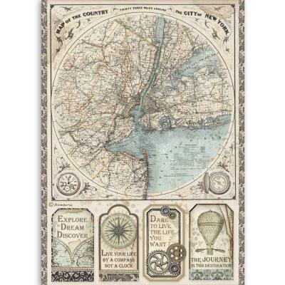 Stamperia Sir Vagabond Rice Paper - Map of New York