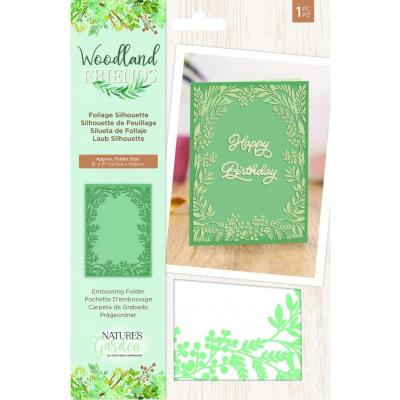Crafter's Companion Woodland Friends Embossing Folder - Foliage Silhouette