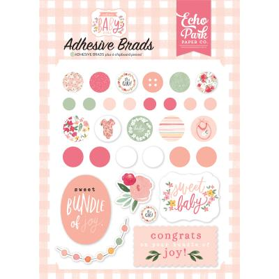 Echo Park Welcome Baby Girl Brads - Adhesive Brads