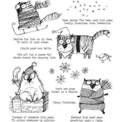Stampers Anonymous Tim Holtz Cling Stamps - Snarky Cat Christmas