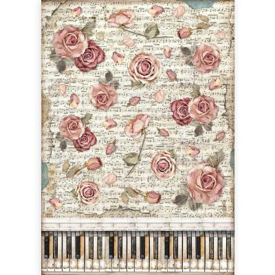 Stamperia Passion Rice Paper - Roses And Piano