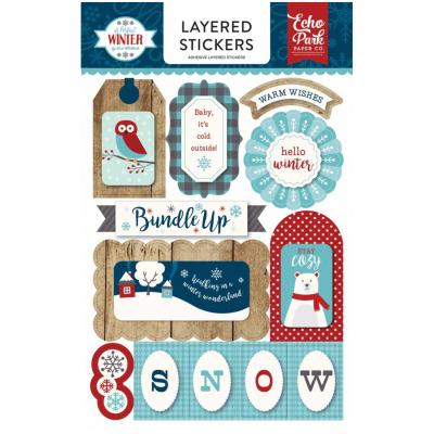 Echo Park A Perfect Winter Embellishments - Layered Stickers